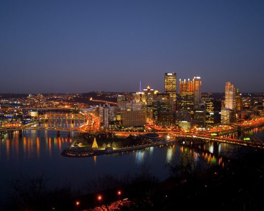 Skyline of Pittsburgh at night