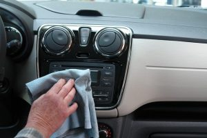Cleaning inside of the car.