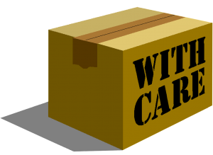 "Sign on the box that says ""with care"""