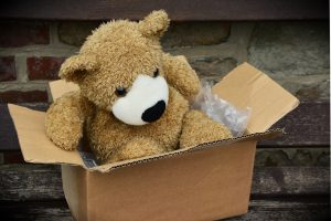 Teddy bear in a box