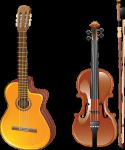 A guitar and a violin,