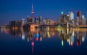 A view of Toronto at night