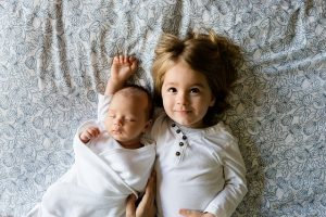 two children on the bed