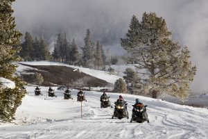 Snowmobiles in the snow.