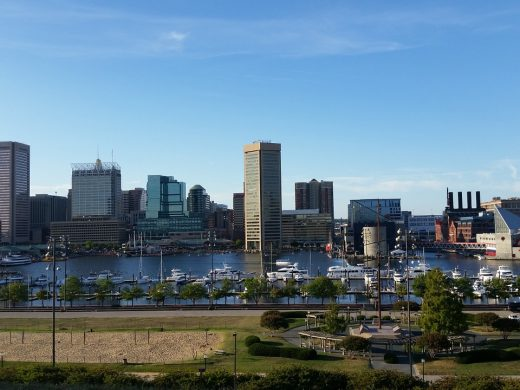 A view of Baltimore, one of the cities in Marlyand you can choose after studying Maryland moving guide for beginners.