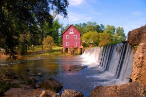 Mill besides waterfalls