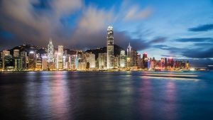 A view of Hong Kong during dusk, from the city's bay.