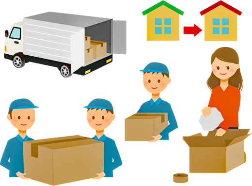 An illustration of a move with professional movers.