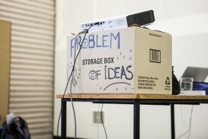 """A card box with """"problem of ideas"""" label."""