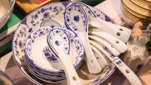 Chinaware plates and spoons.