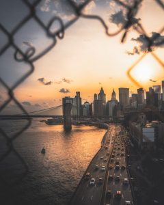 View of New York through the barbwire.