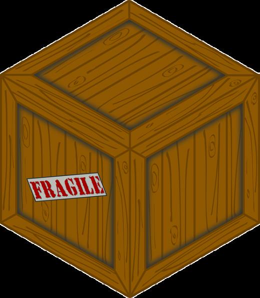 Fragile sign on the box