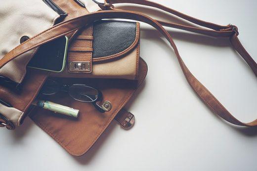 Handbag with personal belongings