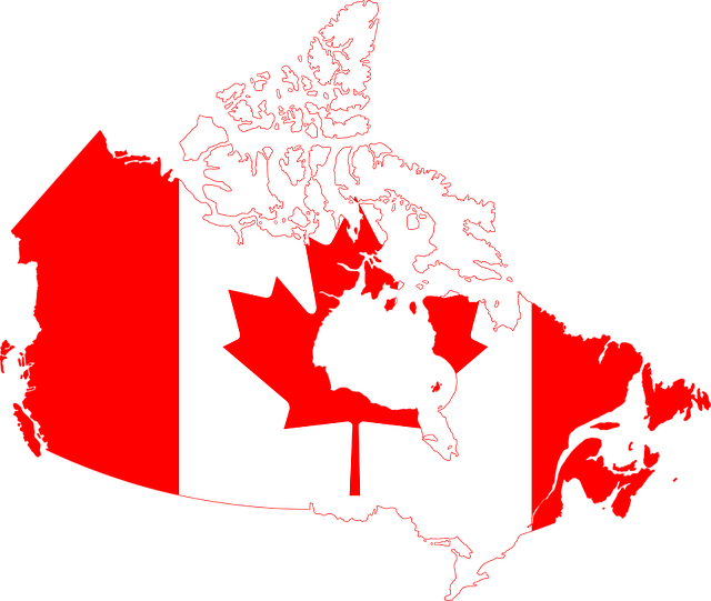 Canada map and flag,representation of need to hire movers when moving in Canada