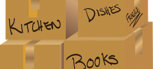 Labeled moving boxes.