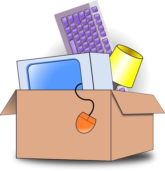 An illustration of various items in a cardboard box.