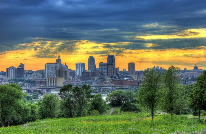 View of Minneapolis, MN during a beautiful sunset.