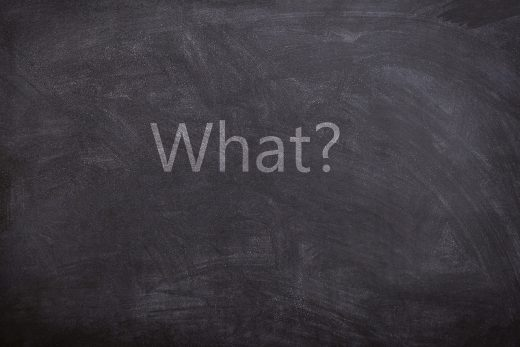 The question what written on a blackboard.