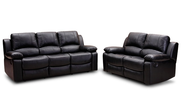 Leather sofas.