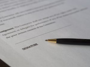 A pen on the contract.