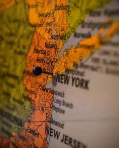 Map shpowing New York and New Jersey