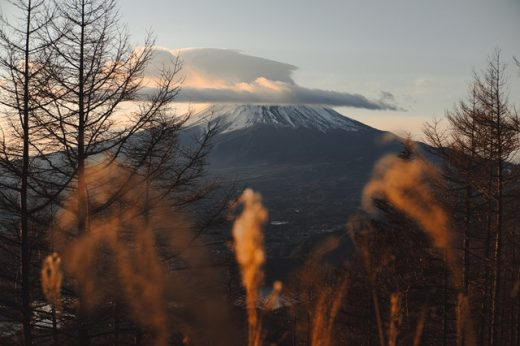 There is a picture of a Mount Fuji during the sunset.