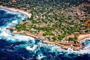 The areal view of the beach in one of the top California cities for young families.