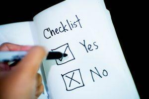A yes/no checklist.