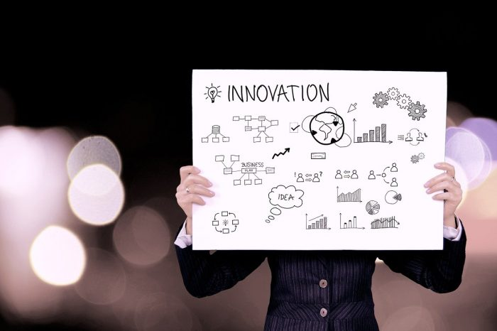 A man holding a large piece fo paper with the word innovation and some key terms related to innovation on it.