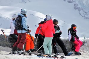 A group of people in ski equipment