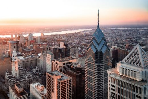 an image of a areal view of Philadelphia which shows why buying a condo in Pilly is a good idea.