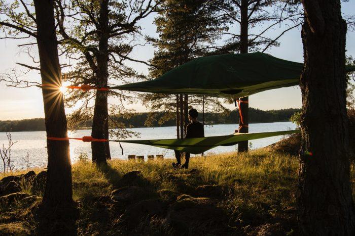 man enjoying camping in Westlake TX