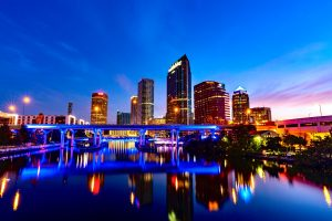 Tampa city skyline on water during night