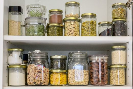 Jars in a pantry ready for Packing and moving